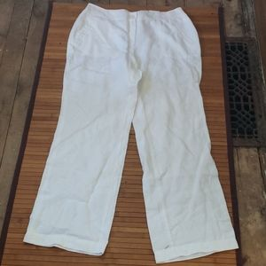 Chico's Ultimate fit white linen pant L
